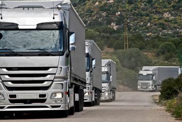 Silver trucks convoy