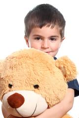 bambino abbraccia orso