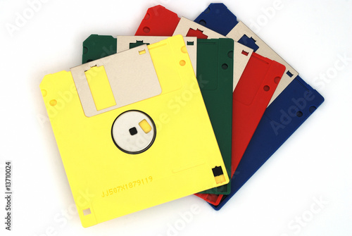 Diskettes on white