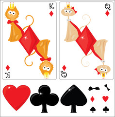 Kid's cards king and queen