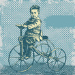 roleta: background with boy on retro bicycle