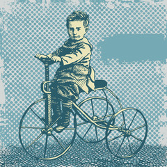background with boy on retro bicycle