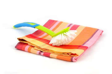 Dishtowel and cleaning brush