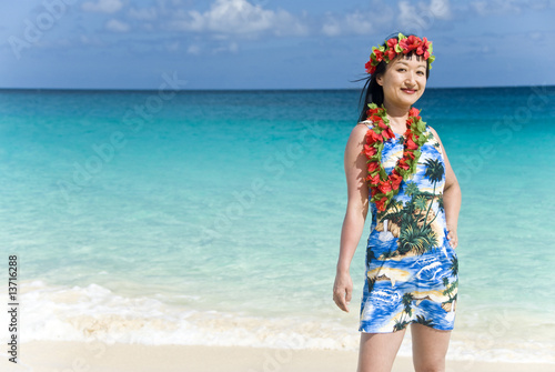 Hawaiian Woman Standing on a tropical Beach