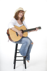 Woman with Guitar on Stool