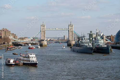 Tower Bridge & HMS Belfast on River Thames