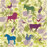 Wild Animals and Floral Pattern