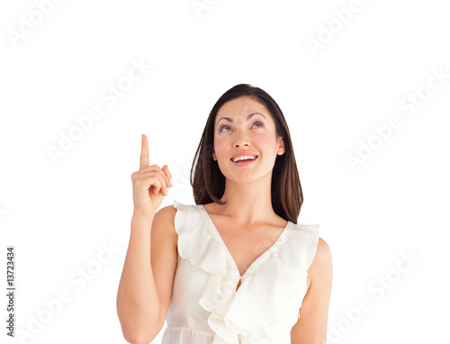 Suprised Young Beautiful Business woman pointing upwards