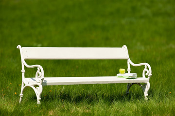 White bench with books in green meadow