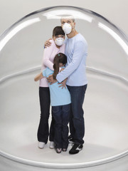 Family huddling inside protective bubble