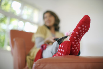 Close-up of mature woman's feet in socks