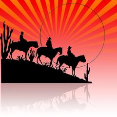 Tres vaqueros por el desierto