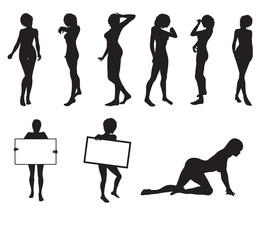 Female silhouettes in vector