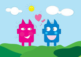 cute love creatures poster