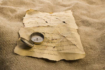 Compass on letter