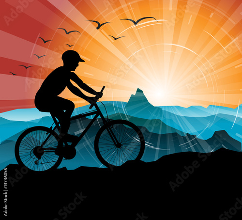Silhouette of the biker