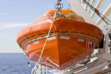 Orange Life Raft on Hoist