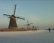 Ice skating at Kinderdijk in the Netherlands