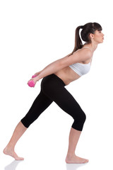Young woman doing fitness exercises with two weights, isolate