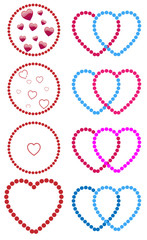 Hearts made with dots. Straight, gay and lesbian couples