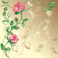 Classical wallpaper with roses