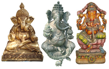 Indian Lord Ganesha - Hindu God Golden Sculpture & Statues