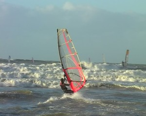 Windsurfing on the North-Sea in the Netherlands