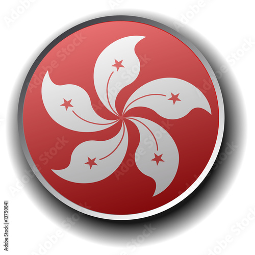 hongkong flag icon - vector button