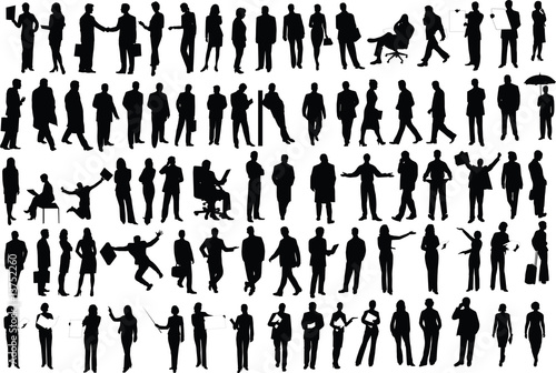 Vector silhouettes of businessmen - 13752260