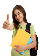 Student showing Ok sign isolated on white background