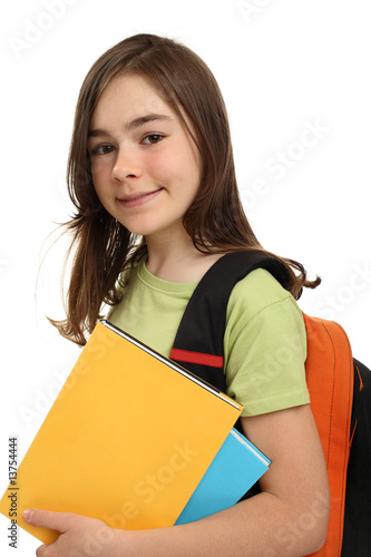 Student isolated on white background