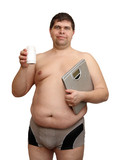 overweight man with medicaments and scales poster