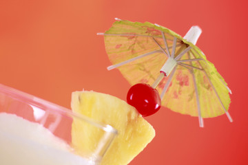 Umbrella and garnishing on a cocktail