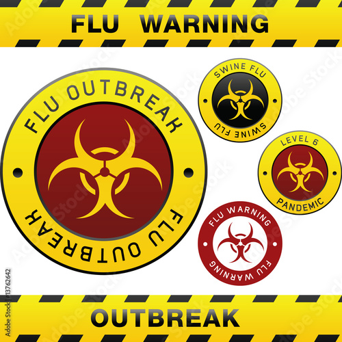 Swine flu pandemic outbreak warning with biohazard symbol