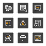 Banking web icons, grey buttons series