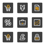 Business web icons, grey buttons series