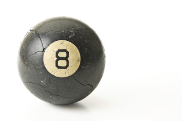 Well Used Cracked Eight-Ball
