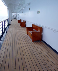 Empty cruise ship walking deck