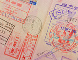 passport with thai and hongkong stamps poster