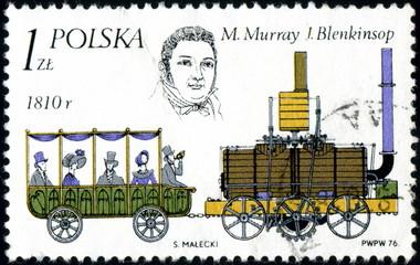 Polska. Ancien train à vapeur. Timbre postal.