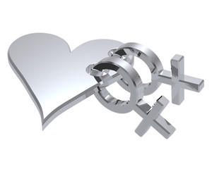 Two chrome female sex symbol with heart.