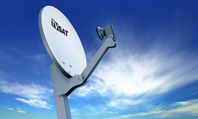 TV satellite dish over blue sky
