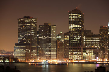 downtown manhattan, new york at night