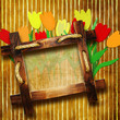 vintage background with wooden frame and tulips drawing
