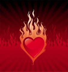 Vector flaming heart