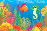 Coral fish and seahorse poster