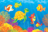 Coral fishes, turtle and seahorse poster