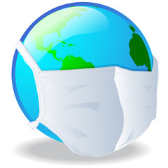 Planeta tierra con tapabocas