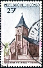 République du Congo. Eglise de Linzolo. Timbre postal1969