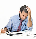 Man Worrying About Paying Bills and Bankruptcy poster